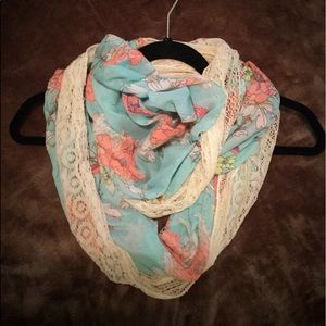 NWOT Chico's Infinity Scarf Turquoise Pink Lace